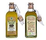 Olivo de Cambil y Corbío. Aceite de oliva virgen extra Picual. Pack mixto 2 botellas de 500 ml (convencional y ecológico) con dosificador.