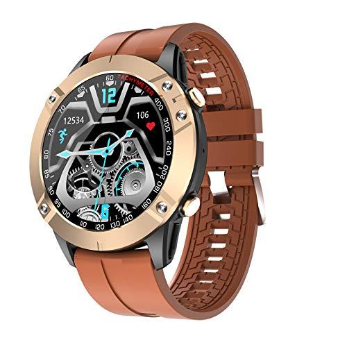 HQPCAHL Smartwatch Reloj Inteligente Hombre con Llamada Bluetooth Monitoreo de presión Arterial oxígeno en Sangre sueño, Pulsera de Actividad Inteligente 10 Deportes, Fitness Tracker,Marrón
