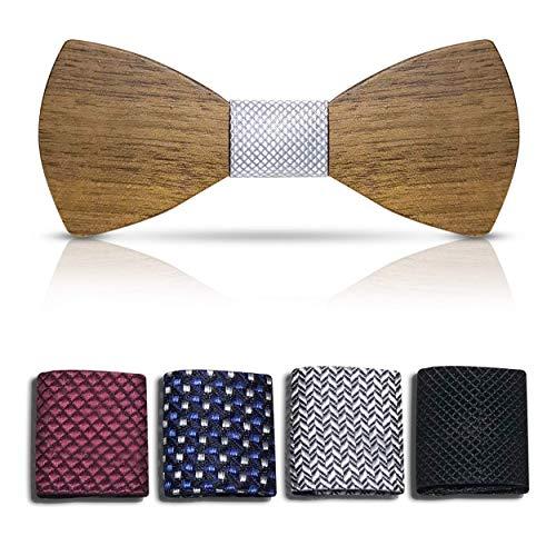 Bellmot 5in1 Holzfliege. Die Holz Fliege für Männer u. Herren in blau, grau, schwarz, rot, punkte