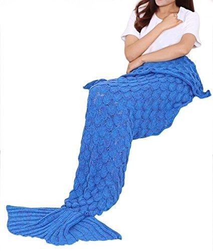 Manta de cola de sirena para adultos, diseño de ganchillo, teñida como regalo de cumpleaños o Navidad para todas las estaciones, color azul clásico de 182,88 cm