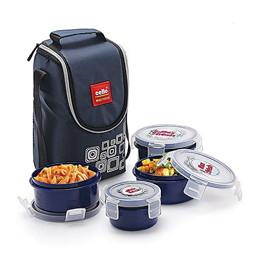 Cello Max Fresh Click Polypropylene Lunch Box Set, 300ml, 4-Pieces, Blue