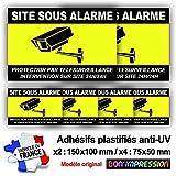 Autocollant Vidéosurveillance + plastification de Protection Anti UV : Protection par télésurveillance - Intervention sur site 24H/24H - CNJ (Lot 1 : 2+4)