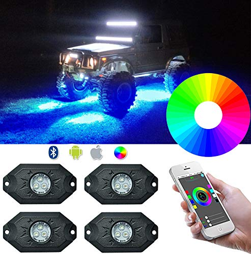 KOYA CREE RGB LED Rock Light Kits with Bluetooth Controller& Timing& Music Mode & Flashing Multicolor Waterproof Neon Lights Under off Road Truck ATV SUV Jeep Boat Motorcycle