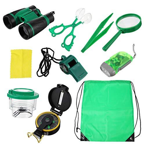 LIOOBO Kit de Aventura para Niños Juego de Exploración Al Aire Libre con Binoculares Linterna Brújula Silbato Lupa Mochila para Niñas Niños Camping Al Aire Libre Senderismo