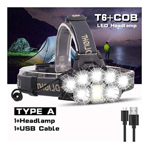 USB oplaadbare koplamp Super Bright 2 * T6 koplamp + 5 * Q5 + 1 * LED COB kop van de zaklamp hoofdlamp lantaarn 18650 batterij waterdicht