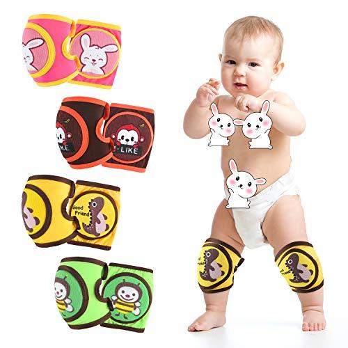 ZukoCert Rodilleras ajustables para bebé/niño (4 piezas) Rodilleras para gatear (unisex) transpirables antideslizantes para niños, 4 piezas Color-c, C