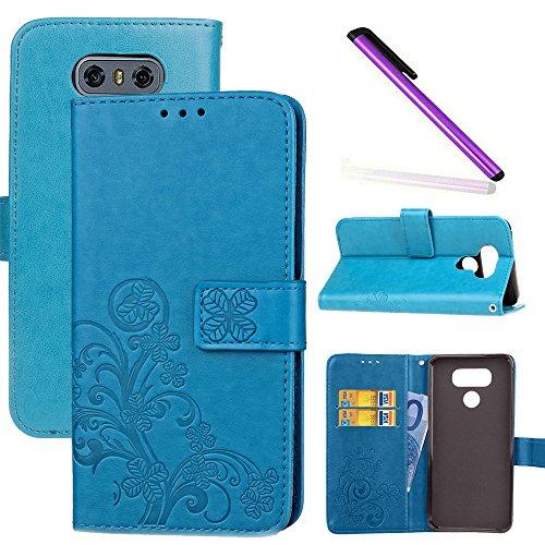 COTDINFOR LG G6 Hülle für Mädchen Elegant Retro Premium PU Lederhülle Handy Tasche im Bookstyle mit Magnet Standfunktion Schutz Etui für LG G6 Clover Blue SD