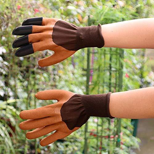 2pcs Gants de Jardin imperméables avec des Griffes du Bout des Doigts pour Creuser la Plantation d'élagage de Roses