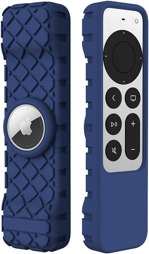 LYWHL for Apple TV 4K 2021 Remote Silicone Cover Case with AirTag Sleeve, Anti-Slip Anti-Scratch Shockproof Full Body Protective Cover for Apple TV 4K Siri Remote Control 2021 - Blue