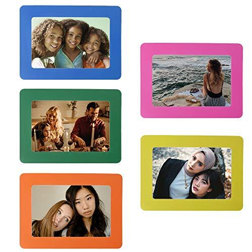 NewZC Magnetische Fotorahmen 5 Stück 12x16.8cm Standard-Fotorahmen Bilderrahmen Magnetisch Magnetische Fototaschen Farbfotorahmen für Kühlschrank