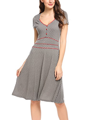 ACEVOG Damen Vintage Gepunktetes Kleid Sommer Knielang mit Kurzarm V Ausschnitt elegant Jersey Kleid Freizeitkleid (XL, Grau)