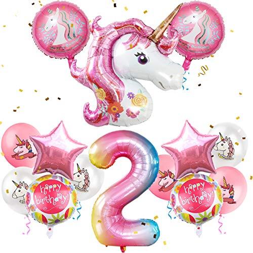 iZoeL Einhorn Geburtstagsdeko für Mädchen Happy Birthday Folienballon Ballon Luftballon für 2 Jahr Kindergeburtstag Party Dekoration