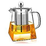 Teiere in vetro con infusore rimovibile, Wisolt Bicchiere alto in vetro borosilicato Bollitore da tè in forma quadrata, colino in acciaio inossidabile 304 e coperchio - Piano cottura sicuro - 350ML