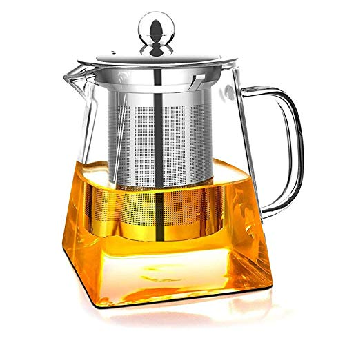 Teteras de vidrio con infusor extraíble, vidrio de borosilicato de Wisolt High Caldera de té de hojas sueltas en forma cuadrada, 304 colador y tapa de acero inoxidable - Stovetop Safe - 350ML