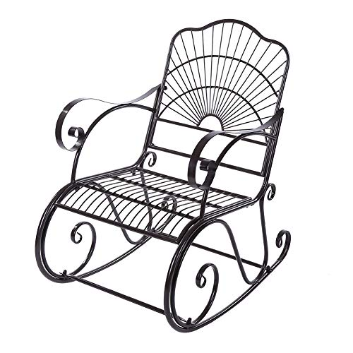 Iron Rocking Chair with Curved Armrest Relaxing Garden Recliner 1 Seat Single Chair Nostalgic Sun Lounger Antique Style Garden Furniture for Adults Ourdoor Patio Backyard Park Indoor Use