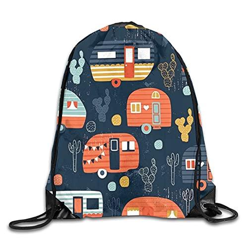 MOBEITI Sacs à dos à cordon de serrage Sacs de gym à cordes,remorques de voyage pour camping-car à décor vintage,sac à dos à la mode de grande capacité,voyage à domicile,sport pour hommes et femmes