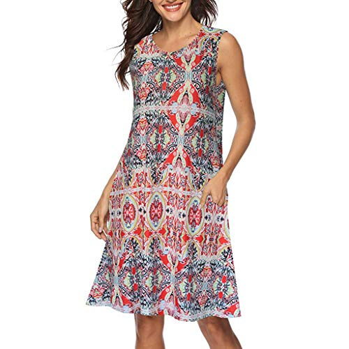 TEBAISE Sommer Minikleid Elegant Damen Frauen Lose Vintage Ärmellos 3D Blumendruck Boho Casual Freizeitkleider für Täglichen Party Strand Urlaub Tank Short Mama