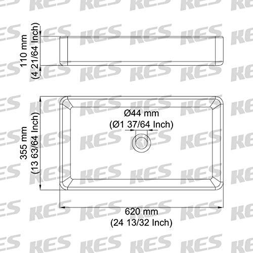 KES Bathroom Vessel Sink 24 Inch Above Counter Rectangular Matte Black Countertop Sink for Cabinet Lavatory Vanity, BVS123S60-BK