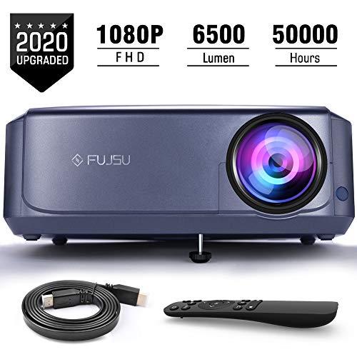 Beamer 1080P Full HD für Office Powerpoint Präsentationen Heimkino, FUJSU LCD Video Projektor Unterstützt mit PS4 Xbox, Wii, HDMI, VGA, SD-Karten, AV- und USB-Geräten