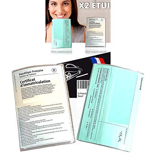 Pochette Carte Grise et Assurance x2 Transparent (FABRICATION FRANCAISE) 2x Étui Protege Carte grise et Assurance pour Documents Voiture Moto Permis Chasse - Etui Porte Papier Voiture (GARANTIE A VIE)
