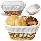 """BILLIE BEAN Large Bread Basket for Serving Set – 12""""x9"""" - Wicker Basket with Removable Liner + Cover - Bread Storage - Bread Serving Basket for Homemade Sourdough Bread - Fruit Basket - Pantry Basket"""