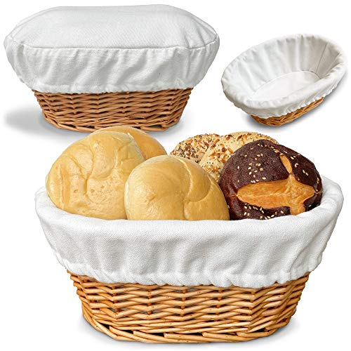 "BILLIE BEAN Large Bread Basket for Serving Set – 12""x9"" - Wicker Basket with Removable Liner + Cover - Bread Storage - Bread Serving Basket for Homemade Sourdough Bread - Fruit Basket - Pantry Basket"