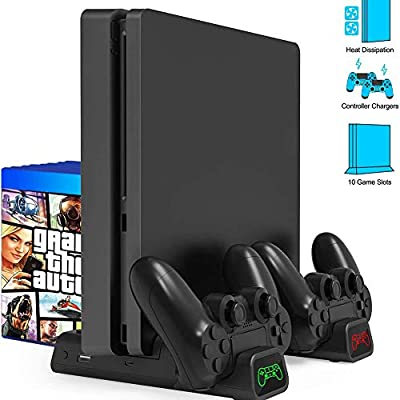 Sq PS4 Vertical Stand, LED Charger Vertical Stand with Cooling Fan Controller Charging Station for Playstation Ps4 / Ps4 Slim Etc with 10 Game Storage