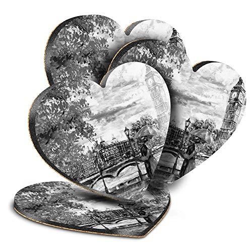 Destination Vinyl ltd Great Posavasos (juego de 4) Heart – BW – Romantic Couple London Big Ben Drink – Posavasos/protección de mesa para cualquier tipo de mesa #42513
