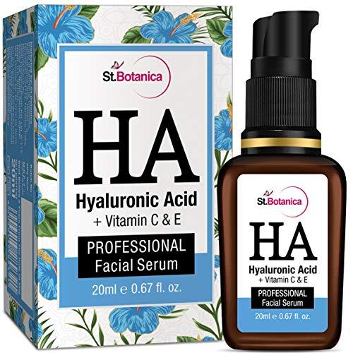 StBotanica Hyaluronic Acid Facial Serum + Vitamin C, E - 20ml - Under Eye Dark Circles, Anti...