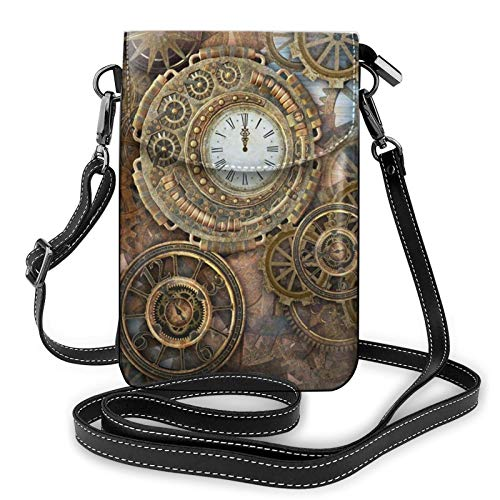 Bolso ligero del teléfono celular de la PU, reloj steampunk oxidado, pequeño Crossbody Bolsos de hombro cartera Pounch bolso para las mujeres, color Negro, talla Talla única