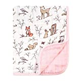 Hudson Baby Baby Girl Muslin Tranquility Quilt Blanket, Enchanted Forest, One Size