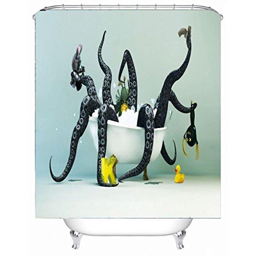 AI XIN SHOP Badezimmer- 3D Octopus Premium Wasserdichte, Mildew-resistente antibakterielle Polyester-Bad-Duschvorhänge, Haken inklusive (größe : 1.8 * 2m)