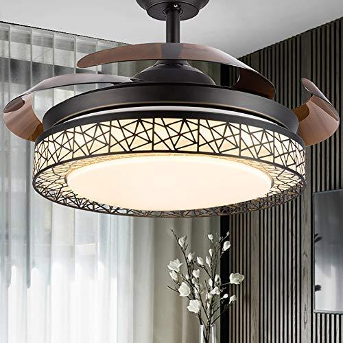 Ventilador de techo Luz de ventilador invisible de anidamiento Luz de ventilador de techo de 107 CM Luz LED y control remoto dormitorio sala de estar comedor decoración del ventilador de techo-black
