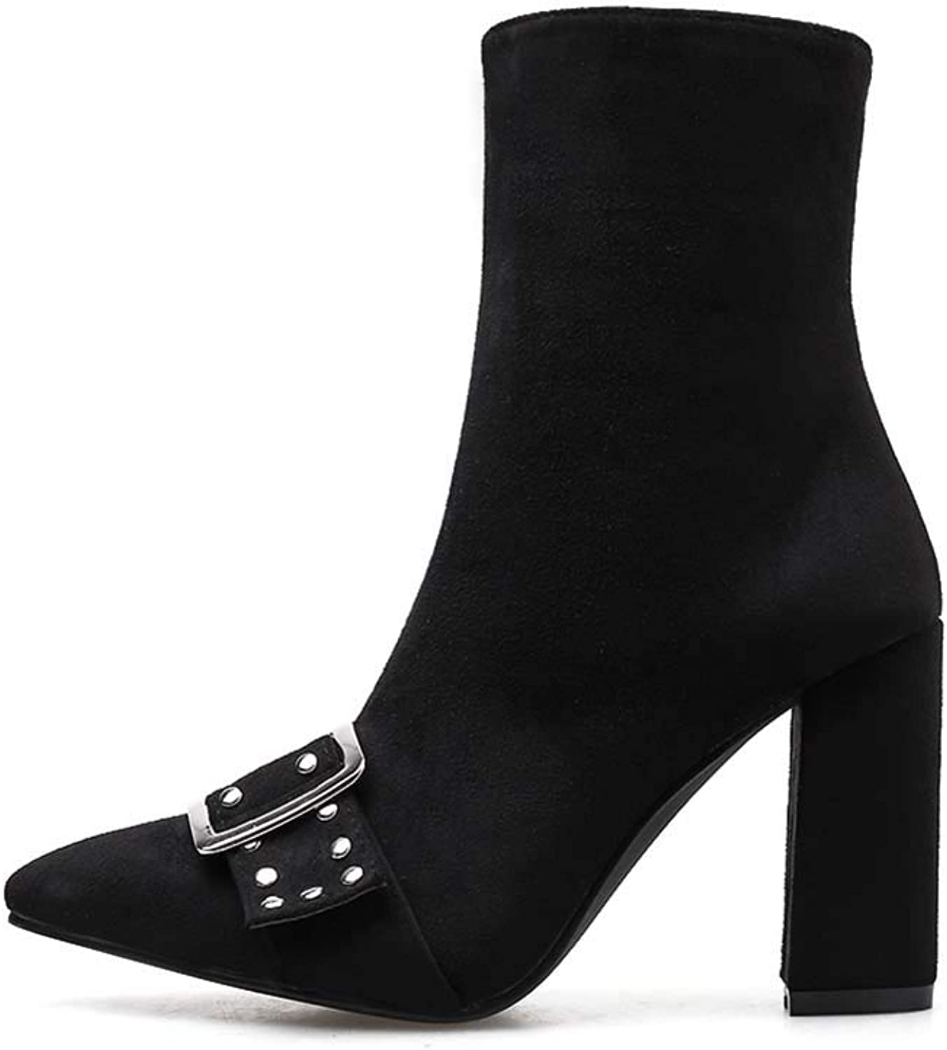 Women's Chunky Ankle Boots, Suede Pointed Rivet Women's Boots, Side Zip Fastening Clasp