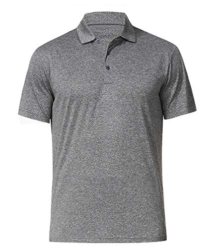 Men's Athletic Golf Polo Shirts, Dry Fit Short Sleeve Workout Shirt, Grey XL