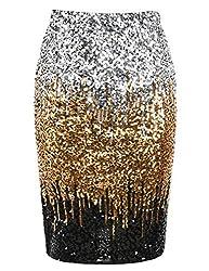 Silver/Gold/Black Sequin High Waist Sparkle Pencil Skirt