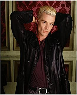 James Marsters 8 x 10 Photo Buffy The Vampire Slayer Black Leather Jacket Red Shirt Red & Pink Wallpaper in Background Hands Behind Head kn