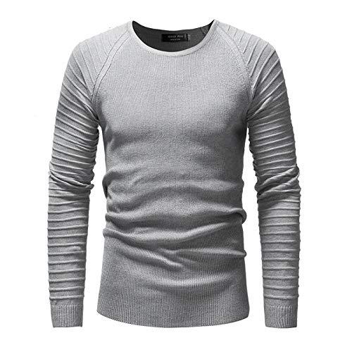 Luandge Einfarbiger Pullover mit rundem Hals und modischer Einfachheit für Herren Slim Fit All-Match-Langarm-Freizeitstrickpullover M