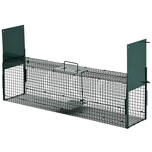 Pawhut Trampa con 2 Puertas para Animales Vivos Jaula de Captura Metálica con Asa para Conejos Visones Zorros Pequeños 100x25x28 cm Verde Oscuro