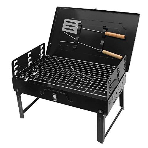 Vvciic Barbacoa de acero negro plegable portátil al aire libre barbacoa de alimentos, parrilla de camping portátil con espátula y tenedor, para acampar