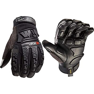 FX3 Men's HydraHyde Impact Protection Work Gloves with HydraHyde Leather Palm, Large (Wells Lamont 7807)