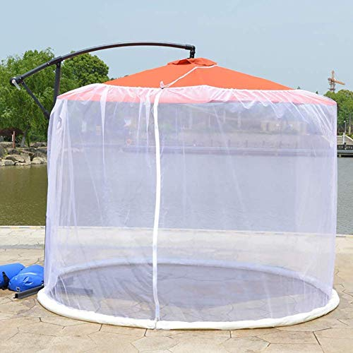 Umbrella Cover Mosquito Netting Screen, Outdoor Garden Umbrella Table Screen, Suitable for gazebos, Size 335x230cm (White)