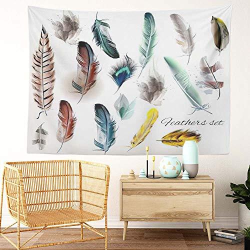 Y·JIANG Tapiz de plumas, juego de plumas de pájaro en estilo realista, tapiz decorativo grande para el hogar, manta ancha para colgar en la pared para sala de estar, dormitorio, 80 x 60 pulgadas