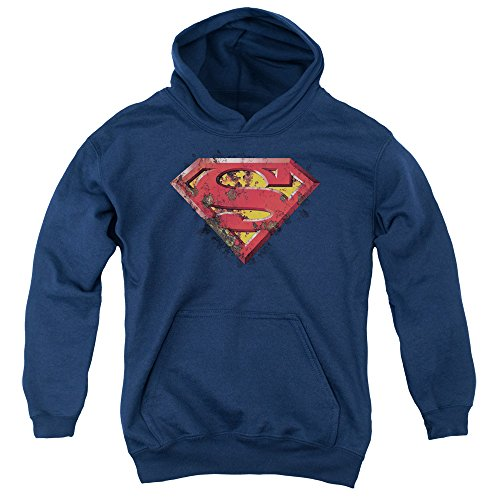 Trevco Superman Rusted Shield Unisex Youth Pull-Over Hoodie for Boys and Girls, Small Navy