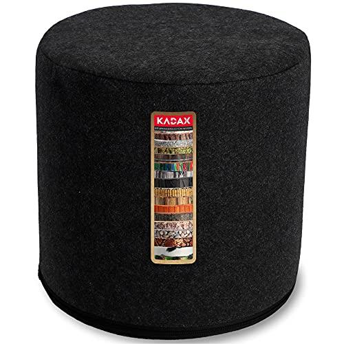 KADAX Sitzpouf, Sitzpuff, runder Sitzhocker, Ø 40 x 40 cm, modernes Design, Puff mit waschbarem Bezug, Sitzsack, Bodenkissen, Deko-Hocker, Fußhocker, Sitzkissen, Stoffhocker (schwarz)