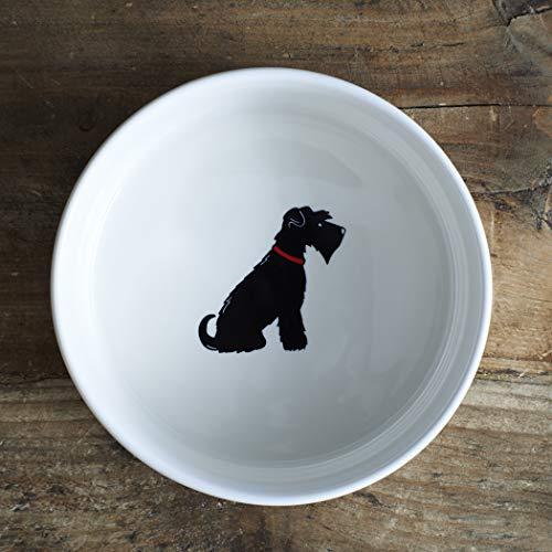 Zwarte Schnauzer kleine hond kom (groot ook beschikbaar)