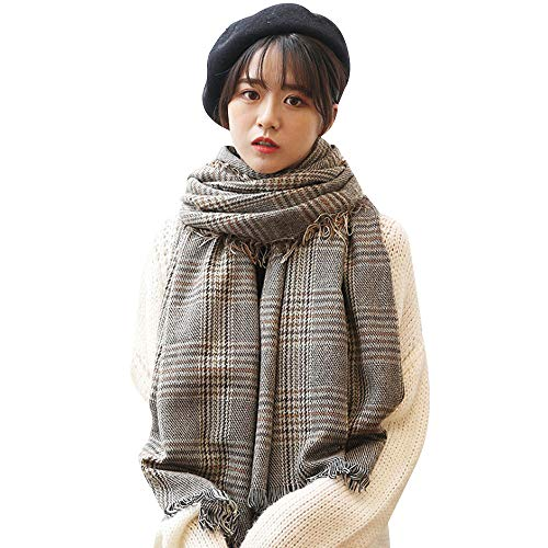 Van Caro British Plaid Scarf Faux Cashmere Tassel Thick Wool Winter Scarf Shawl for Women Men Brown
