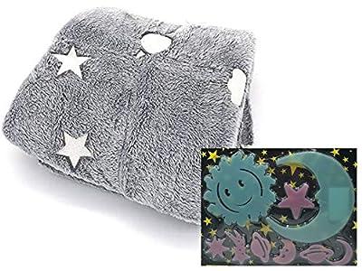 SL Pack de 2pcs - 1 Manta Que Brilla en la Oscuridad y Pegatinas de Pared Luminosas Fluorescente para habitación del Bebe (Gris-satelites)