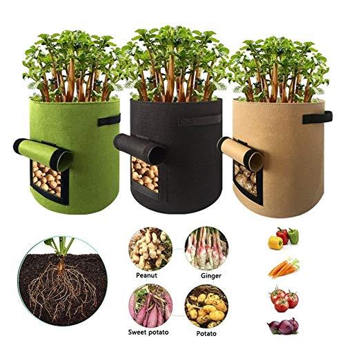 Contenedor de plantas 4/7/10 galón crece la planta bolsas de patatas Semillas de marihuana de plantación de plantas Compra Hogar Jardín de frutas de plántulas en crecimiento tela Hidratante para patat