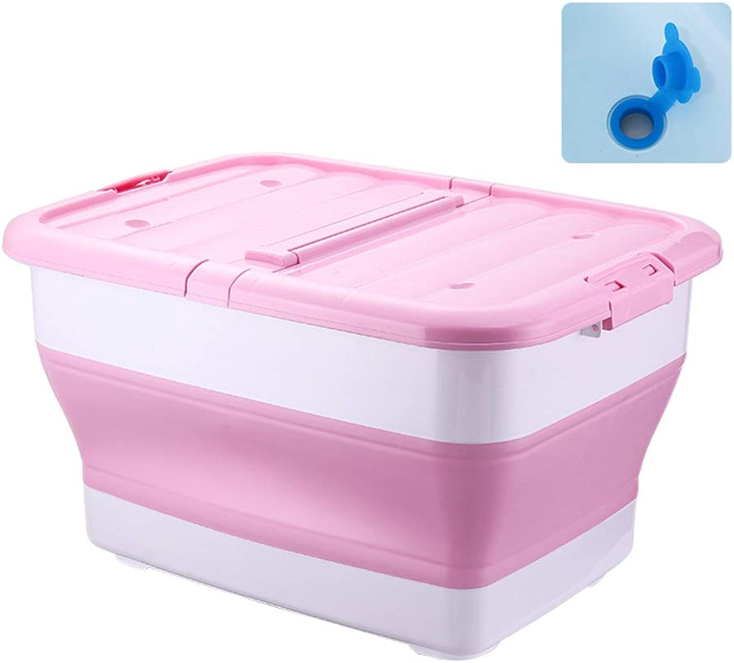 ZHANGQIANG Storage Basket Laundry Basket Plastic Large Storage Box with Lids (color   Pink flip+Water Hole, Size   A)